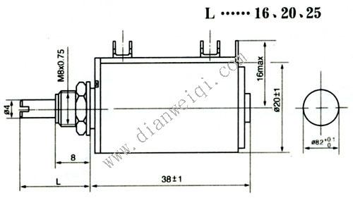 WXD3-13多圈线绕电位器尺寸图