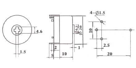 WX20-1电位器尺寸图